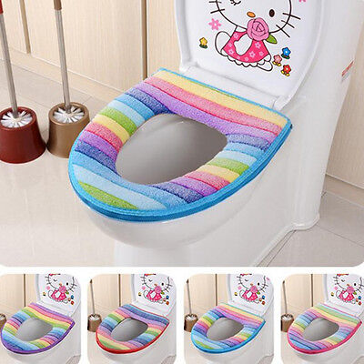 FT- HK- Bathroom Warmer Toilet Seat Soft Closestool Washable Lid Top Cover Pads
