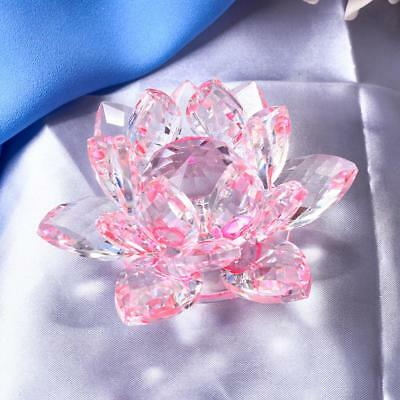 Large Crystal Lotus Flower with Gift Box 4 Inch Feng Shui Home Decor Pink