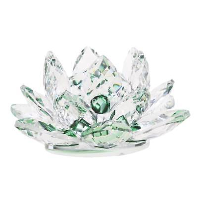 Large Crystal Lotus Flower with Gift Box 4 Inch Feng Shui Home Decor Green
