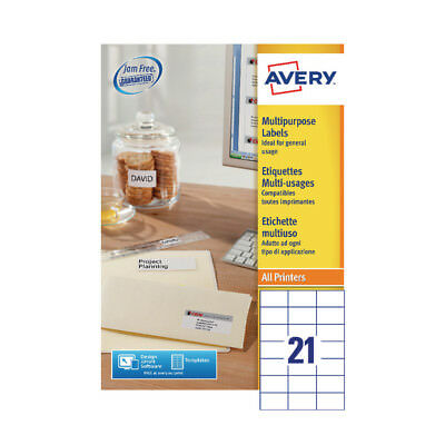 Avery Multi-Purpose Label 70x42.3mm 21TV per Sheet White (Pack of 100) Sheets 36