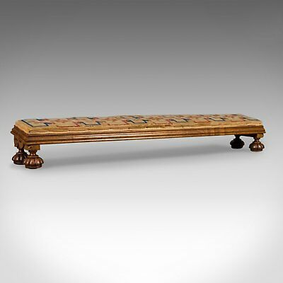 Antique Carriage Stool, Long Victorian Footrest, English, Walnut, Circa 1850