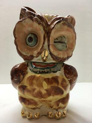 1940's Shawnee Cookie Jar EYE WINKING OWL Pottery U.S.A.