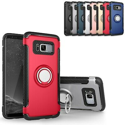 For Samsung Galaxy S8 Plus Case Ring Stand Shockproof Armor Cover Tempered Glass