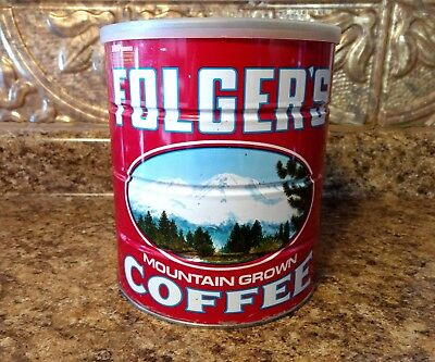 folgers coffee can 48 oz mountain scene RARE CAN  vintage coffee item 3 pound lb