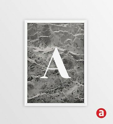 Marble Letter Print - Personalised Initials - A3 - A4 - A5