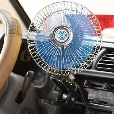 8'' 12V Mini Fan Auto Car Vehicle Dash Dashboard Portable Clip-On Oscillating