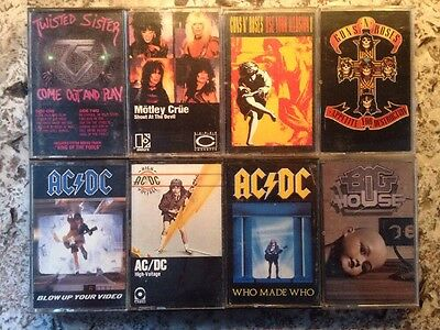 HEAVY METAL Cassette Lot of 8 Tapes AC/DC GUNS N ROSES TWISTED MOTLEY BIG HOUSE