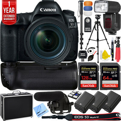 Canon 5D Mark IV Full Frame EOS DSLR Camera Pro Memory Power Recording Bundle