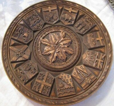 Vintage Wood Sculptor Karl Rothammer Wall Plaque  Coat Of Arms Canada