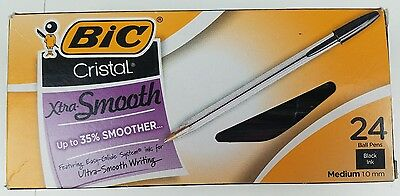 Bic Cristal Xtra Smooth Ballpoint Pen Black Ink 1mm Medium 24 Office Supplies