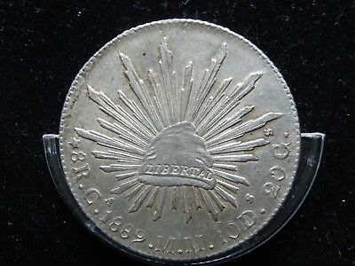 MEXICO SCARCE 8 REALES 1889 Ca MM,CHIHUAHUA, SILVER CROWN SIZE KM#377.2