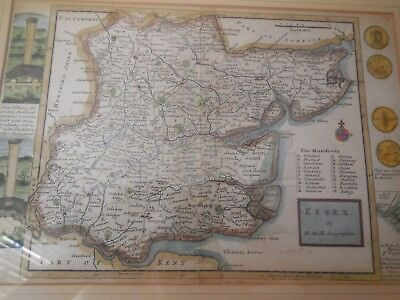 1724 Map of Essex Engraved and Hand Coloured by Herman Moll