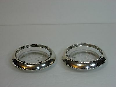 "Frank M. Whiting Sterling Silver & Glass Coasters, 4"", Set of 2, Heavy, Marked!"