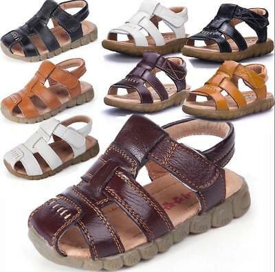Kids Boys Girls Toddler Leather Sandals Closed Toe Beach Walking Sports Shoes
