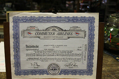 Commuter Airlines Stock Certificate 1967