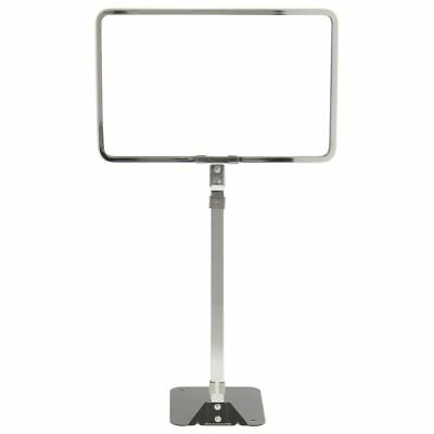 "HUBERT Sign Holder With Adjustable Stem Flat Stem Chrome-Plated Steel 7"" H x 11"""
