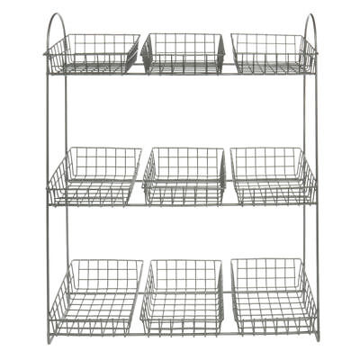 """Countertop Merchandising Display Stand With 9 Wire Baskets 3-Tier  Silver - 19""""L"""