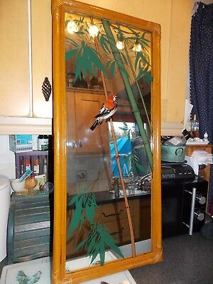 Vintage Mirror bamboo frame with bird sat in bamboo reed warbler by Saggers &co