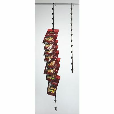 """Hanging Potato Chip Rack with 16 Clips, Black Metal - 47"""" L"""