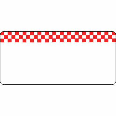 Write On Deli Tag With Red Checkerboard Design White Heat Resistant