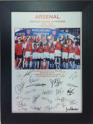 Arsenal Champions Immortals Winners A4 signed Framed