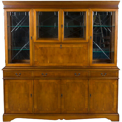 Vintage Antique Style Large Breakfront Bookcase w Bar Liquor Cabinet China Yew
