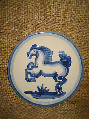 MA Hadley Vintage Old Stock Rearing Blue Horse Bread Plate - 6 inches