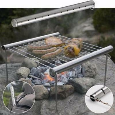 Outdoor Picnic Stainless Steel BBQ Grill Folded Mini Pocket Easy Cooking