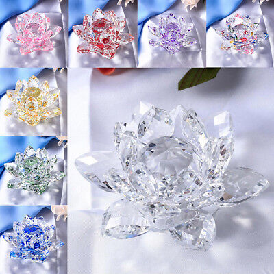 Large Crystal Lotus Flower Ornament with Gift Box, Feng Shui Decor Figurine