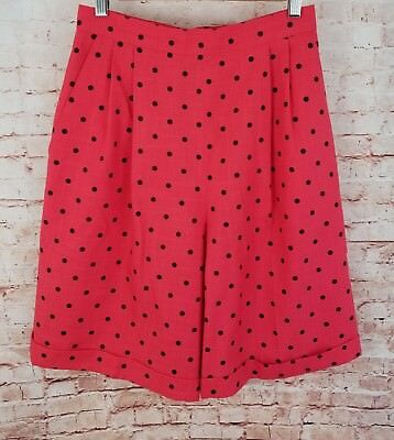 VTG Braemar Jeremy Scott 8 High Waist Pleated Dress Shorts Red Black Polka Dots