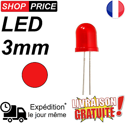 LED Diode rouge 3 mm haute luminosité red LED (NEUF)