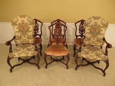 LF28764: Set of 6 Vintage 1930s Heavily Carved Walnut Dining Room Chairs
