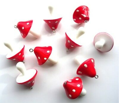 10 Gorgeous Red 3D Mushroom Toadstool Charms  - Fast Free Shipping
