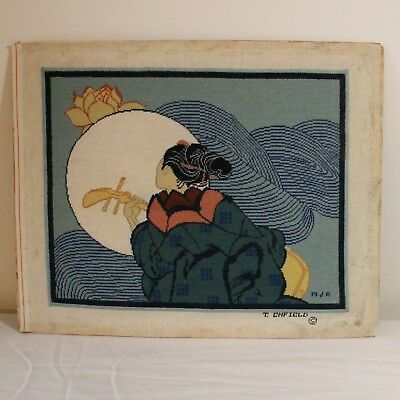 T. Enfield HandPainted Needlepoint Canvas Finished Geisha Lotus Lute Japanese