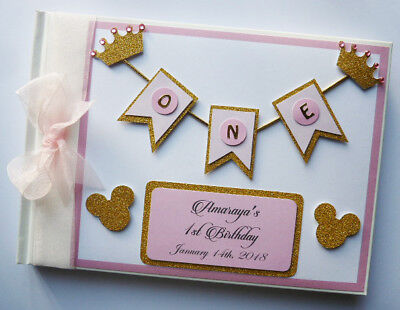 Personalised Disney Minnie Gold And Pink Pbirthday Guest Book - Any Design