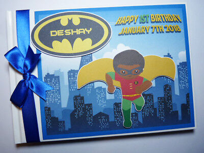 Personalised Batman And Robin Boys First/1St Birthday Guest Book Any Design