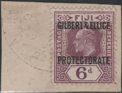 GILBERT AND ELLICE KEVII 1911 Issue 6d Scott 6 SG6 Used Tied to Piece cv £50