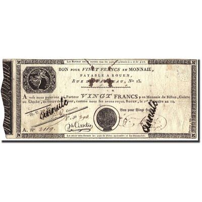 [#213413] France, 20 Francs, An 12 (1804), B+, KM:S245b