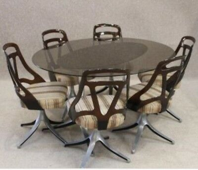 retro vintage glass oval stainless steel dining table perspex swivel