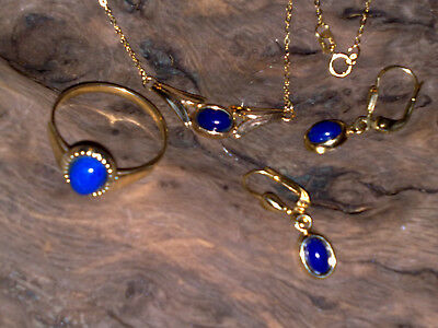 Gold Set Halskette Ohrring Ring 333 375 Lapislazuli Schmuck echt 585 750 925