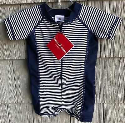 NWT Hanna Andersson Swimmy Rash Guard Striped Navy White Swimsuit 70 6-12 Months