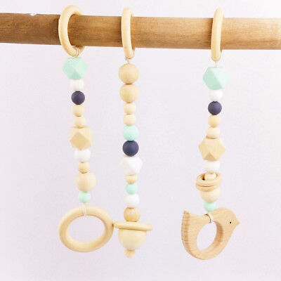 1Set Baby Play Gym Toys Stroller Wood Bird Teether Chewable Teething Wooden Ring