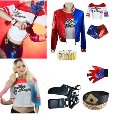 Suicide Squad Harley Quinn DC Cosplay Costume Girls Women Fancy Dress Outfit Set