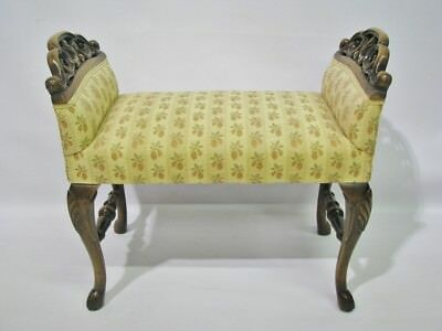 Vintage 1920s - 30s Bench With Carved Arms & Hoof Feet; Mint Upholstery