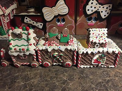 Claydough Large Lighted Gingerbread Frosting Candy Themed Train So Cute