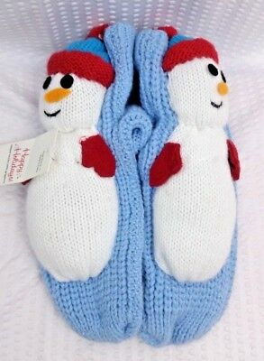 Capelli Kids Girls Holiday Snowman Slipper Socks M/L NWT 9/11 grippers winter 5