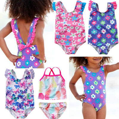 UK Kids Baby Girls Swimsuit Flower Butterfly Swimwear Swimmable Swimming Costume