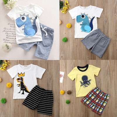 UK Stock Kids Baby Boy Summer Cotton T-shirt Top+Short Pants Outfits Clothes Set