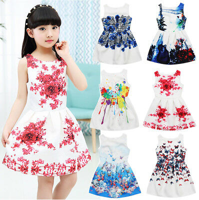 UK Stock Sleeveless Kids Girls Floral Summer Party Dress Sundress Clothes 5-12Y