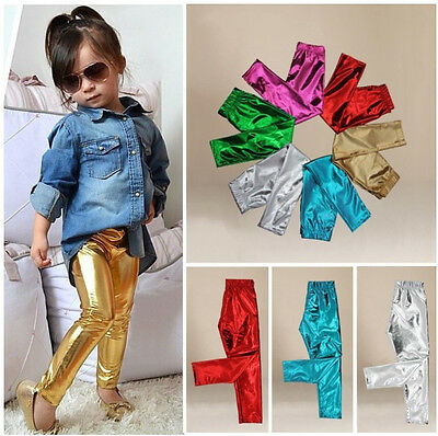 UK Stock Toddler Baby Kids Girl Meryl Shiny Solid Skinny Leggings Pants Trousers